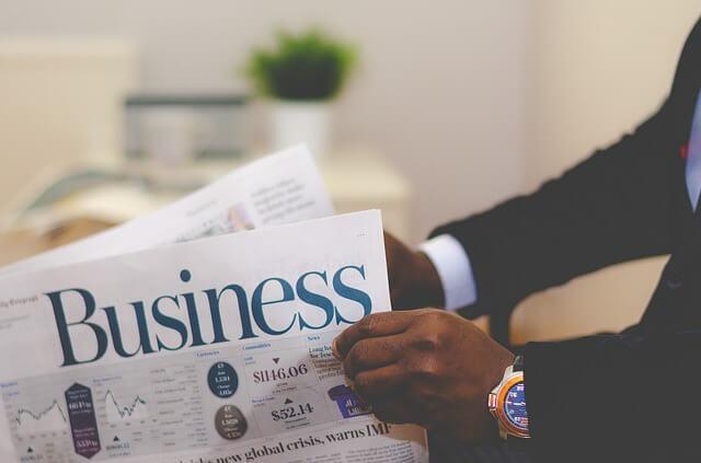 ビジネスと書いてある新聞